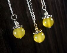 Bridesmaid Necklace Set, Sterling Silver Yellow Agate  Chalcedony USA
