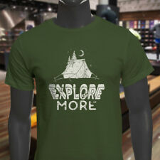 EXPLORE MORE CAMPING ADVENTURE TRAVEL OUTDOORS Mens Military Green T-Shirt