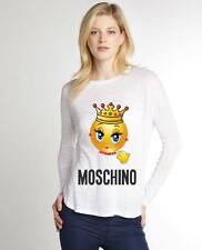 White Women Top Blouse New Modern Sexy T-shirt Emoticon Moschino