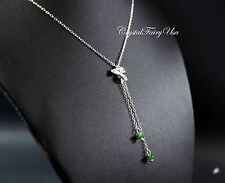 Y Necklace - Lariat Necklace - Emerald Jade Necklace - Sterling Silver Y Chain N