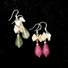 Green Fluorite Earrings in Sterling Silver - Pink Chalcedony Earrings - Handmade