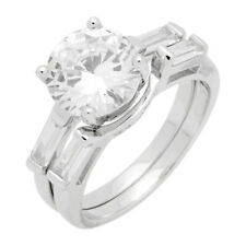 Two Piece Wedding Set Engagement Ring Band Round Baguette CZ 925 Sterling Silver