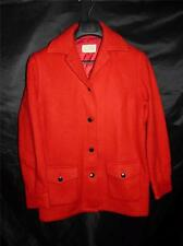 Vintage 60s Ladies L Hudson's Bay Co Red Wool Coat Button Front Blanket Jacket