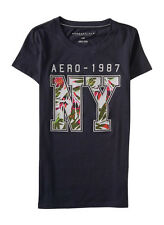 aeropostale womens aero-1987 ny graphic t shirt gray