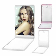 LED Makeup Mirrors Mini Portable Folding Compact Hand Cosmetic Make Up BE