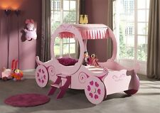 Girls Single Pink Princess Carriage Bed - Mattress Options