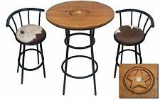 HAND CARVED OAK BAR TABLE SET WITH GLASS TOP AND 2 AUTHENTIC COWHIDE BAR STOOLS