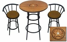 HAND CARVED OAK BAR TABLE SET WITH GLASS TOP AND 2 BROWN EMBOSSED BAR STOOLS