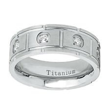 Men Women Titanium Wedding Band Ring 8mm Brushed Finish CZ Setting Ring