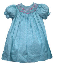 Girls Dress Aqua Floral Smocked Float Easter Spring Petit Ami NWT 4T-6