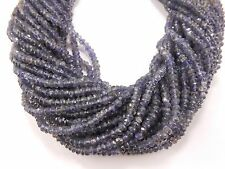 "13"" BLUE IOLITE faceted gem stone rondelle beads 3.5mm-4mm Water Sapphire"