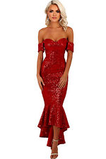 NEW RED SEQUIN OFF SHOULDER MAXI EVENING PARTY DRESS SIZE 8 10 12 14