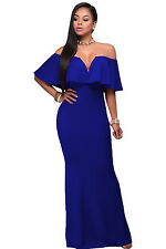 NEW ROYAL BLUE OFF SHOULDER MAXI EVENING PARTY DRESS SIZE 8 10 12 14