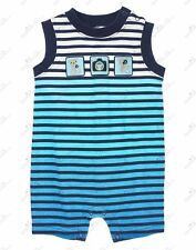 NWT Gymboree Lemur Lagoon Blue Striped Cotton Shorts Romper 1pc Outfit Baby Boys