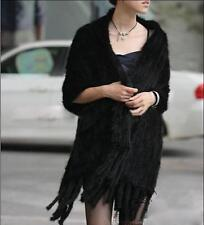 Women's Real Farm Mink Fur Knitted Cape Hot Series with Pocket/wrap/scarf/shawl