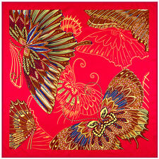 """Women's Red Butterfly Fashion Printed Square Shawl Twill Silk Head Scarf 39""""*39"""""""
