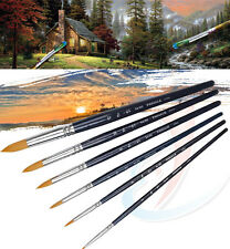 Artist Paint Brushes Set 6 Rounded Fine Nylon Bristles Create for Oil Acrylic