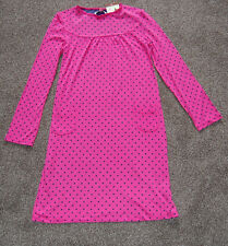 john lewis girls long sleeved dress pink with navy spots age 2 years      (1092)