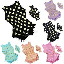 Cute Newborn Baby Girls Polka Dot Romper Jumpsuit Sunsuit Outfits Set Clothes
