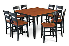 """M&D FURNITURE 54"""" SQUARE COUNTER HEIGHT PUB DINING TABLE CHAIR SET"""