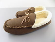 Club Room $75 MEN SHOES SLIPPERS Suede Moccasin Slippers SZ 9.5 Brown SALE D12