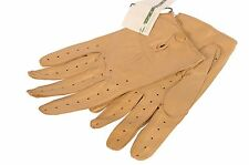 LUIGI BORRELLI Napoli Hand Made Tan Soft Napa Leather Unlined Driving Gloves NEW