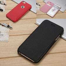 Simple Wallet Card Leather Hard Flip Skin Back Case Cover For iPhone Samsung