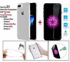 Silicone Clear Soft Gel TPU Case / Tempered Glass For iPhone 6 6S Plus 7 7 Plus