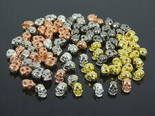 Solid Metal Side Drilled Metal Skull Earring Bracelet Connector Charm Beads