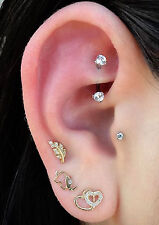 Daith Earrings Rook Piercing Eyebrow Ring Lip Jewelry Crystal 16G Curved Barbell