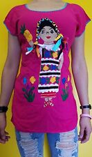 Huipil peasant 100% Cotton Mexican Embroidered Blouse Top Oaxaca