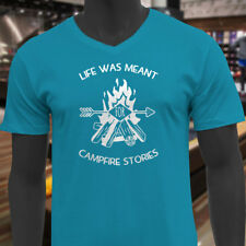 LIFE MEANT FOR CAMPFIRE STORIES CAMPING OUTDOORS Mens Turquoise V-Neck T-Shirt