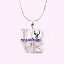 NBA Milwaukee Bucks 925 Sterling Silver Team Logo Love Necklace With Rhinestones