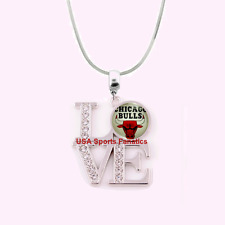 NBA Chicago Bulls 925 Sterling Silver Team Logo Love Necklace With Rhinestones