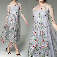 New Spring Korean Long Fashion Women Crew Neck Tulle Embroidery Dress