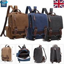 Mens Canvas Messenger Backpack Rucksack Vintage Travel School Camping Bag Bags