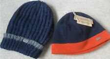 EX FAT FACE REVERSIBLE FITTED & BLUE STRIPE WOOL BLEND KNITTED SLOUCH BEANIE HAT