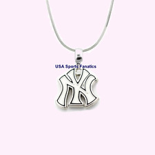 MLB New York Yankees 925 Sterling Silver Team Logo Pendant Necklace (5 Sizes)