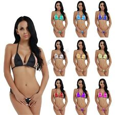 Womens Sexy Micro Thong G string Brazilian Mini Top Bra Swimwear Bikini Swimsuit