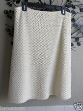 $455 PIAZZA SEMPIONE IVORY TEXTURED WOOL A-LINE SKIRT SIZE 46/6-8
