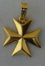 9ct 9k 375 Yellow Gold Maltese Cross Pendant SOLID - Meduim size