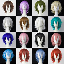30cm Anime Wigs Short Straight Hair Cosplay Show Party Wig Black Brown Blonde