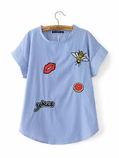Womens Embroidered Patch Shirt Blouse Short Sleeve Blue Stripe Flower Loose Top