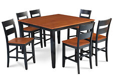 """54"""" SQUARE SUNDERLAND COUNTER HEIGHT PUB DINING TABLE CHAIR SET, BLACK & CHERRY"""