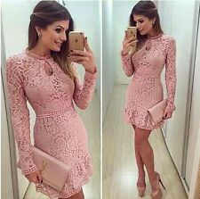 2017Spring Womens Sexy Dresses Party Night Club Dress Long Sleeve Pink Lace Dres