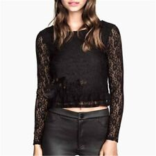 Women Lace Cropped Tops Short Blouses Sweet O-neck Long Sleeve Shirts