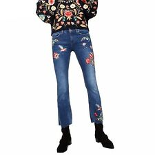Women Studded Floral Embroidery Flare Jeans Rhinestone Denim Flare Pants