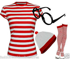 Women's Girls Red & White Striped (T-Shirt Hat Glasses & Socks)COMPLETE OUTFIT