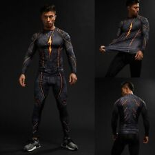 3D Printed Flash Compression Cosplay Costume Mens Long Sleeve Bicycle T-shirts