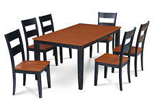 M&D FURNITURE SUNDERLAND DINING ROOM TABLE SET WITH WOOD SEAT CHAIRS